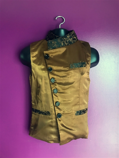 Jessie Vest Brown Satin is done in our Brown Satin and is a fully lined. It features an Adjustable Purple swirl Brocade Collar and three pockets. The Jesse Vest comes with a 100% Polyester Lining for superior comfort.