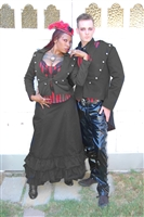 Knuckles Lady Jacket, This Women's Steampunk inspired Gothic required Jacket is done in Black Light Cotton Twill has Silver Button Closure, Lace on the collar and Tails. Made of Cotton Twill. Vampy Flirtation for a dark adventure with a Steampunk flare.