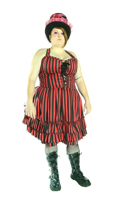 MERCEDES DRESS is done in our PINK AND BLACK STRIPED fabric. A new take on the Lolita Dress, fashioned out of Heavy Cotton Twill with a bodice top and bustled skirt. Also features 2 deep hidden pockets.