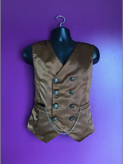 Mark Vest Brown Satin - This Man's Vest in our Brown Satin and is fully lined. It features an Adjustable strap on the back and pockets. Has a 100% Polyester Lining for superior comfort. Available in sizes XS- 4X!