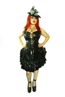 This Dress is done in our Black PVC fabric and features an Adjustable Bustle, Layered Ruffles, and a Back Zipper and most importantly has 2 deep side pockets. Made of polyester pinstripe and has a 100% Polyester Lining. Gothic and Fetish.