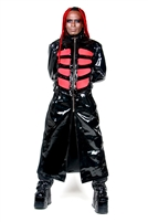 This Full Length Trench Coat in Black Heavy PVC with Cotton Side Panels