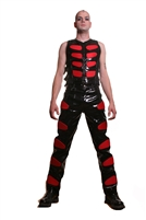 Murder Pants Red are made with our Black PVC and have Red Panels. These Pants the are Fully Lined with 100% Polyester Lining and  have Back Pockets.