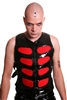 Murder Vest Red-This fully lined men's PVC is done in our heavy. Features adjustable side buckle straps, cotton panels, Front Zip and 100% Polyester Lining.