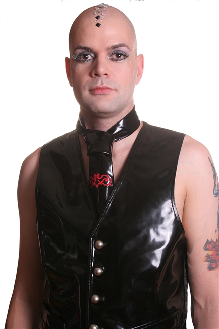 PVC Tie -This Classic Men's Tie is done in out of our Black PVC and has The Hilary's Vanity Bat embroidered on it in Red.