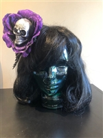 Purple Glitter Hair Flowers with Skull