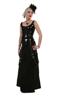 Gothic and Steampunk Velveteen Floor Length Bell Skirt features Front Bondage Straps, a