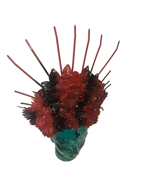 Red and Black Day Of the Dead Headdress one of a kind Made by Hilary