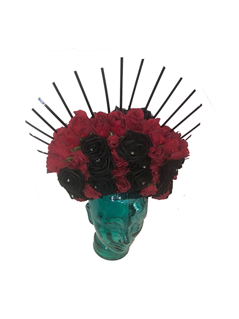 Red and Black Rose Day Of the Dead Headdress