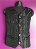 Scott Vest Black and Black Stripe Brocade - This Men's Vest is A Steampunk Victorian Vest in our Black and Black Striped Brocade fabric . It features an Adjustable Buckle on the back Side and front pockets.