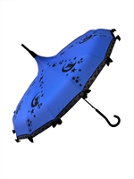 This beautiful Blue umbrella has a fairy pattern. And features lace and bow details and hook-style handle.
