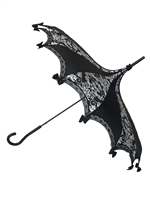 Hilary's Vanity UMBRELLA Bat Damask Black and White
