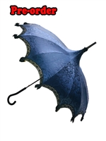 Hilary's Vanity Umbrella Blue Satin with Blue Flowers