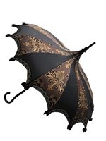 Hilary's Vanity UMBRELLA Brown Black and Gold  Damask