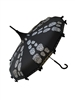 This beautiful Hilary's Vanity black umbrella has a silver sugar skull pattern. And features lace and bow details and hook-style handle.