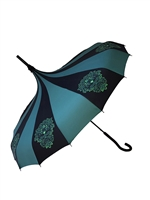 This beautiful green and black umbrella features a green man pattern and hook-style handle.