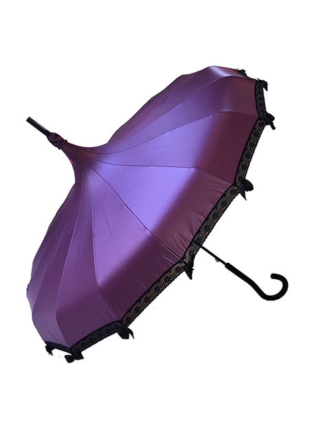 This beautiful Umbrella is done in our Lilac Satin. It has lace and bow details with a hook-style handle.