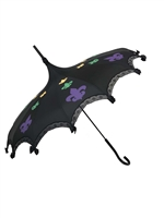This Pagoda Mardi Gras Umbrella features 3 fleurs-de-lis purple yellow and green, lace and bow details and hook-style handle. This Umbrella will complement any costume or outfit.
