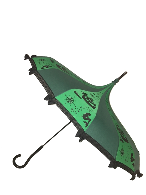 Going to Neverland take the Never Grow Up Pagoda Umbrella. Features lace and bow details with a hook style handle. Looks great with any outfit or costume. Fairytale inspired has storybook images like mermaids, campus, hook and Fairy dust.