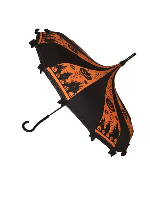 Pagoda Orange Halloween Umbrella it features lace and bow details with a hook style handle. Complement any costume or outfit. Gothic and Steampunk inspired. Also Has Pumpkins, Jack-o'-lantern, haunted houses, spiders and spiderwebs.
