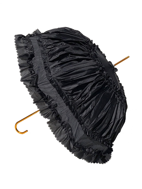 Hilary's Vanity Ruffle Umbrella has lace inside and a automatic handle as well as its luxurious Ruffles! And features a copper hook-style handle.