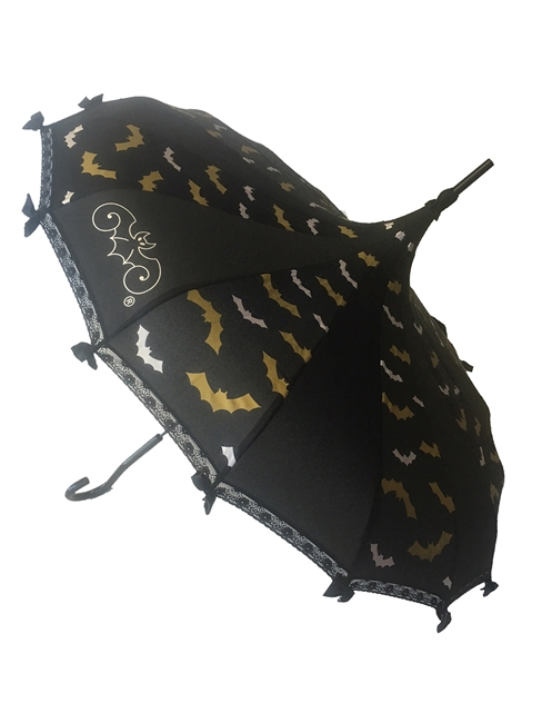 Silver and Gold Bats take flight on this beautiful Pagoda Umbrella, featuring the Hilary's Vanity logo, lace and bow details and hook-style handle. This Umbrella will complement costume or outfit. Gothic and Steampunk inspired.