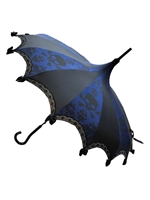Hilary's Vanity Umbrella Blue Skull Damask