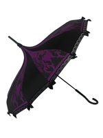 This purple and black pagoda Villain Umbrella has images of fiery dragon, sleeping spell, spinning wheel and raven, along with lace and bow details and hook-style handle. Will complement any Gothic, Steampunk, Storybook, Fairytale, costume or outfit.