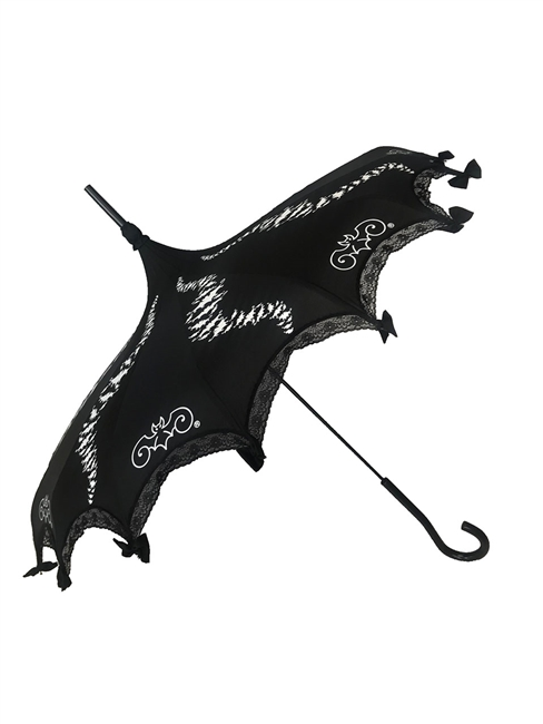 White bats take flight in a swirl pattern on this beautiful Black Pagoda Umbrella, featuring the Hilary's Vanity logo, lace and bow details and hook-style handle. This Umbrella will complement costume or outfit. Gothic and Steampunk inspired.