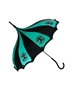 This beautiful green and black umbrella has a Tree Of Life pattern. It features lace and bow details with a hook style handle.