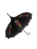 This beautiful Hilary's Vanity umbrella has a colorful flower pattern. It features lace and bow details with a real Bamboo hook style handle.