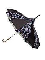 This beautiful Hilary's Vanity umbrella has a black and white octopus damask pattern. It features lace and bow details with a real Bamboo hook style handle.
