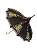 This beautiful black umbrella Hilary's Vanity has a Colorful Tiki pattern with pineapples on to top. It features lace and bow details with a real Bamboo hook style handle.