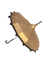 This beautiful Hilary's Vanity Umbrella is done in our 14K Gold Satin. It has lace and bow details with a hook-style handle.
