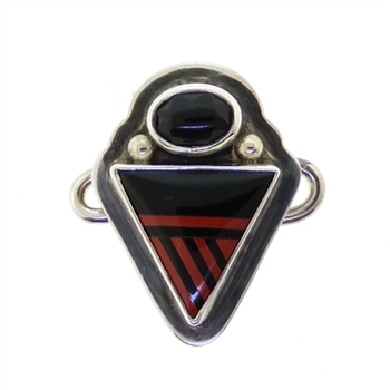 Tabra Onyx Red Jasper Inlay Charm