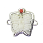 Tabra Carved Bone Butterfly Coral Charm