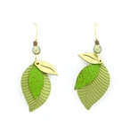 Adajio Green 3-Part Brass Leaves Earrings