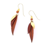 Adajio 3 Part Slender Leaves in Copper Colors Earrings