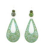 Adajio Green Filigree Teardrop Earrings