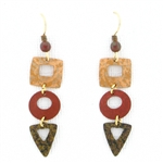 Adajio Three Part Earth Tone Earrings