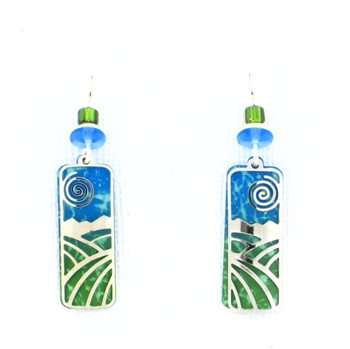 Adajio Green & Blue Landscape Overlay Earrings