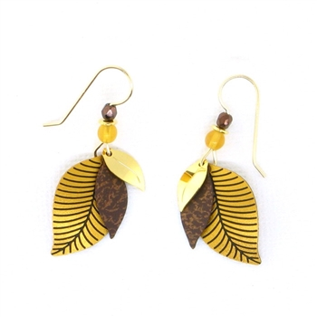 Adajio Gold & Brown Leaf Earrings