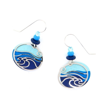 "Adajio Blue & Aqua ""Waves"" Silver IR Overlay Earrings"