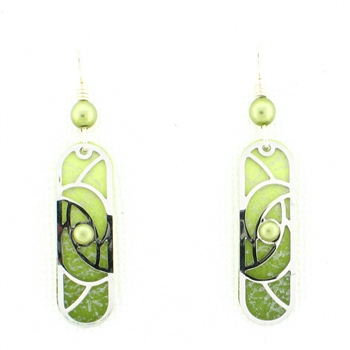 Adajio Green Silver Overlay Earrings