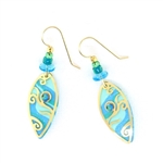 Adajio Aqua Gold Overlay Etched Earrings