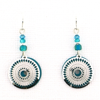 Adajio  Teal Circle & Filigree Earrings