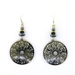 Adajio Gun Metal Round Filigree Earrings