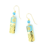 Adajio Aqua Gold Overlay Etched Landscape Earrings