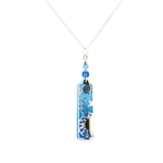 "Adajio Blue Two-Tone ""Sunrise"" Silver IR Overlay Necklace"