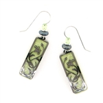 Adajio Celery Green Floral Hematite Tone Overlay Earrings